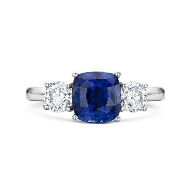 Cushion Cut Sapphire 3 Stone Engagement Ring