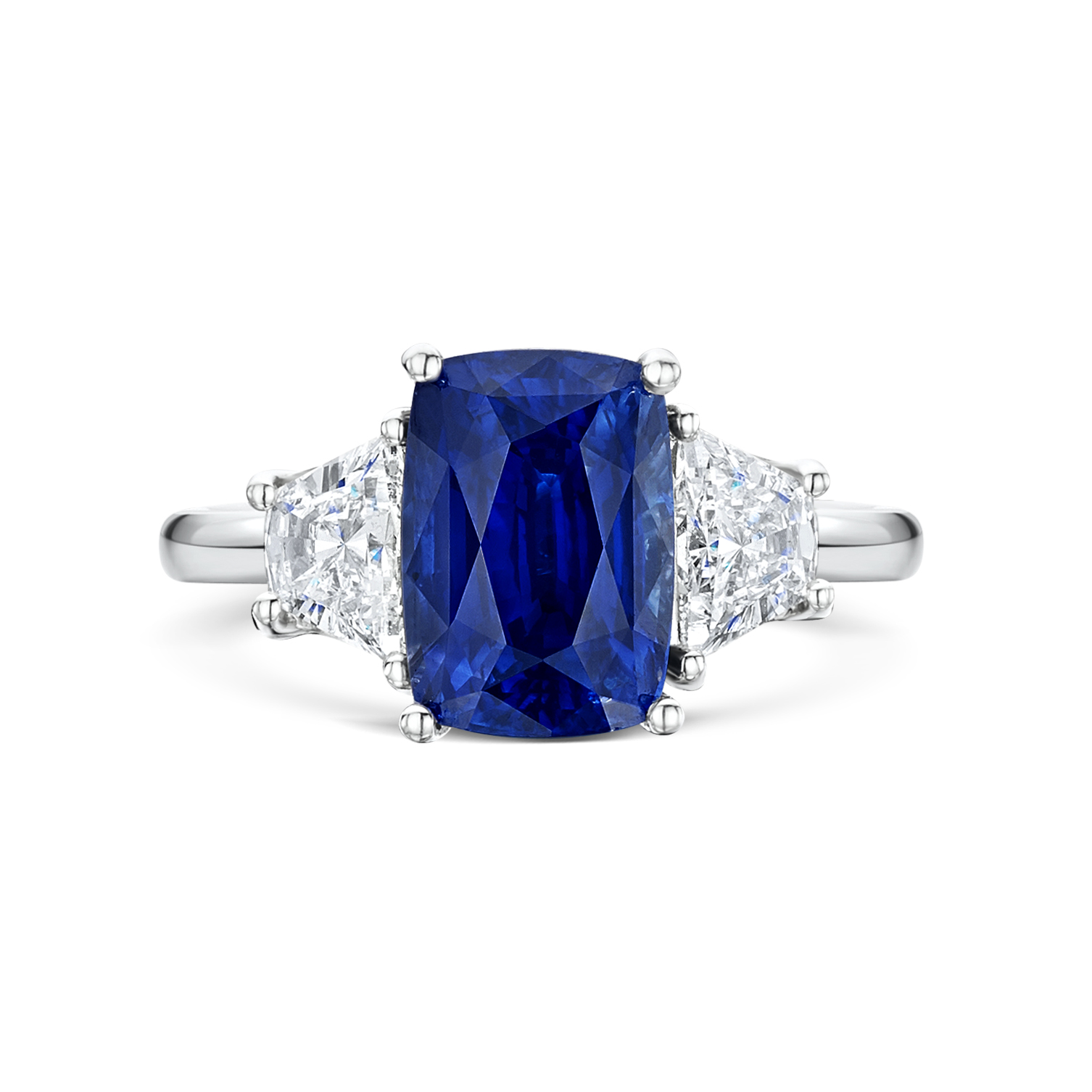 sapphire modern product cushion in half ring diamonds engagement moon platinum home cut
