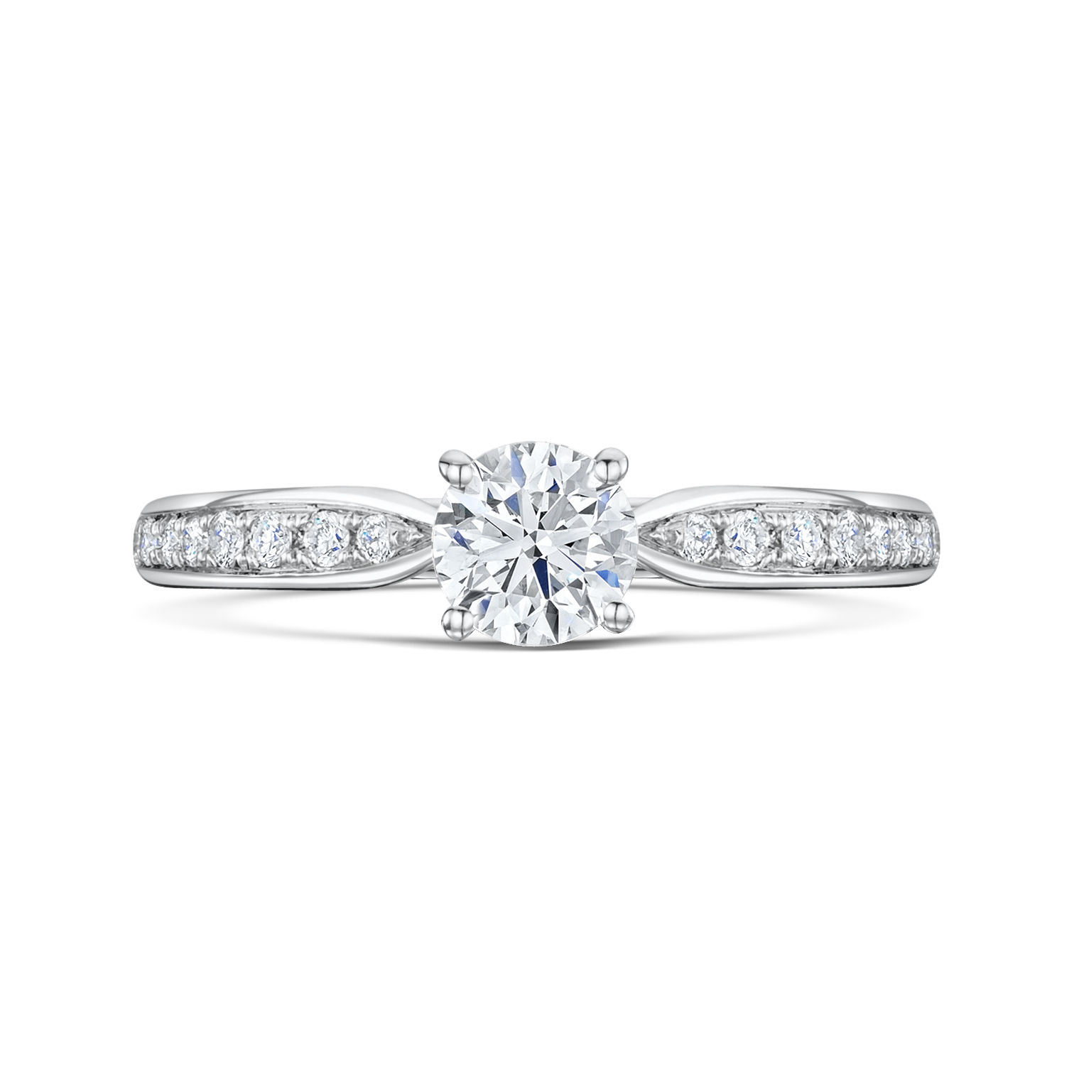 Tapered Diamond Solitaire With Pave Shoulders