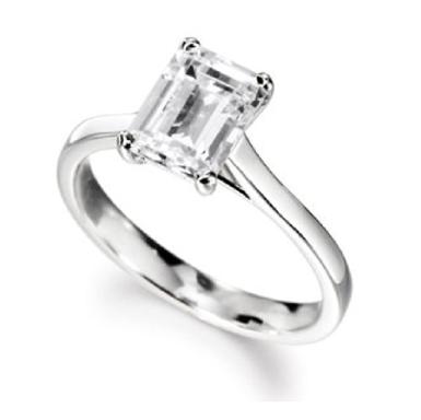 Classic Emerald Cut Diamond Solitaire Engagement Ring