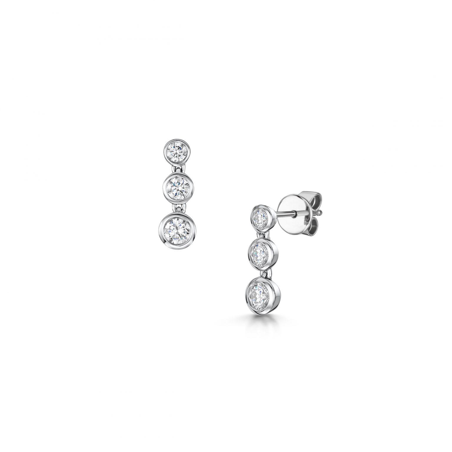 Three Stone Diamond Drop Earrings
