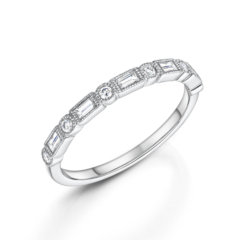white gold vintage deco wedding ring