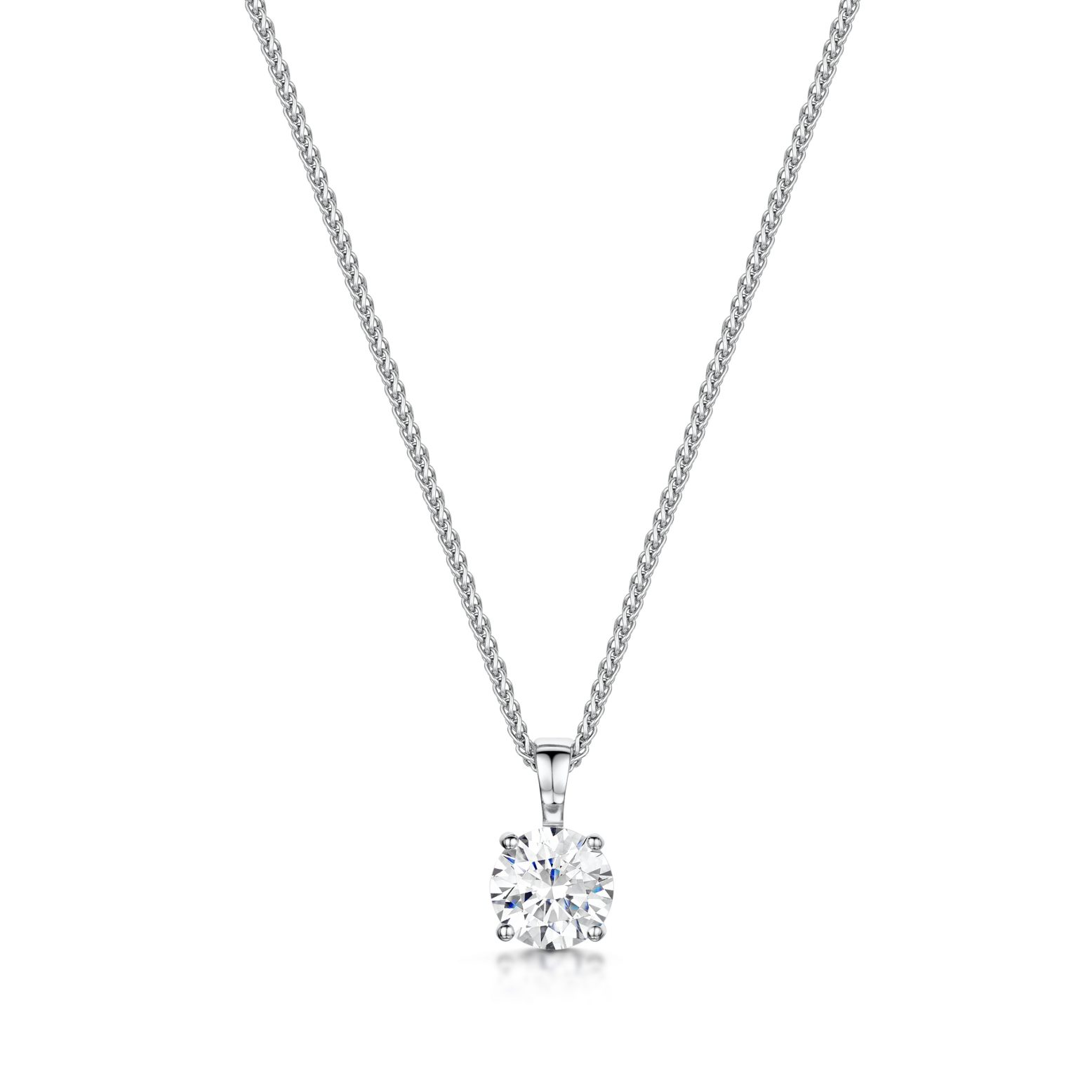 product solitaire i necklace diamond carat princess pendant cut white gold