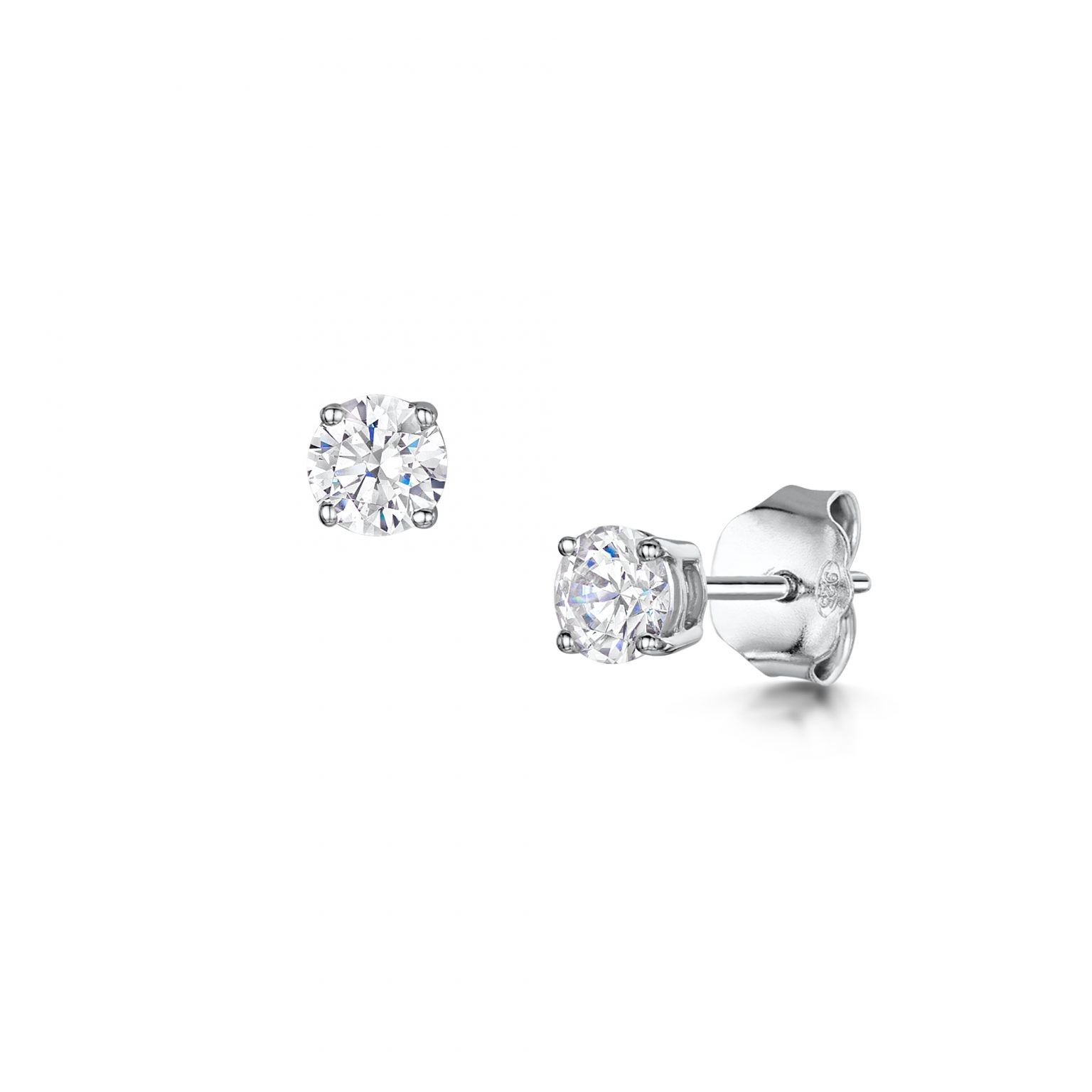 cut white gold diamond ideal tw earrings estate in
